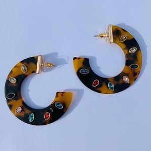 Rainbow Rhinestone Tortoise Half Hoop Earrings